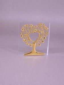 Γυάλινη μπομπονιέρα με χρυσό δέντρο